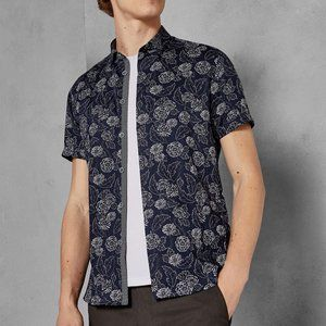 Ted Baker Navy White Print Floral Buttonup Top L
